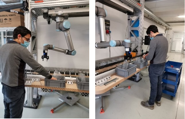 Robot performing the planned pick and place operations in the Cembre mock-up
